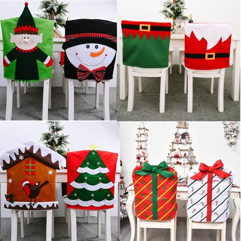 Christmas Home Decorations Cartoon Chair Cover Dinning Party Table Decor Xmas Ornament Snowman Elk Elf Christmas Tree Xmas Gift