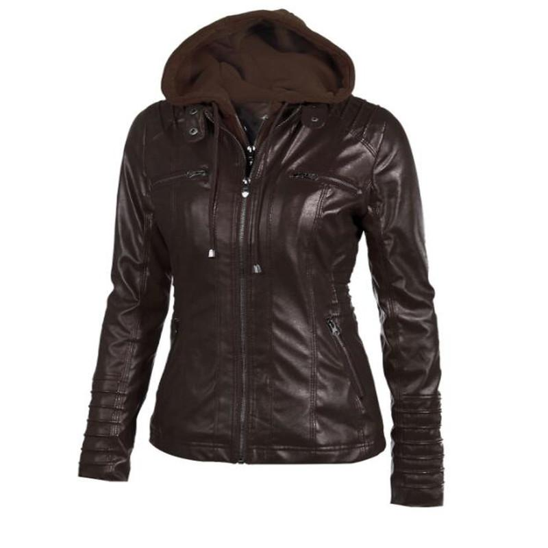 Hot Autumn and Winter Women's Leather Jacket with Zipper Motorcycle Leather Jacket Short Paragraph PU Large Size Coat 3XL