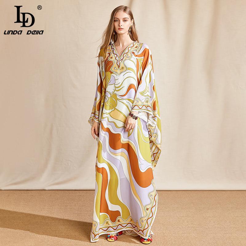 LD LINDA DELLA Mode d'été Designer Plus Size Robe longue Femme col V manches Batwing en mousseline de soie imprimé en vrac Maxi robe Y200805