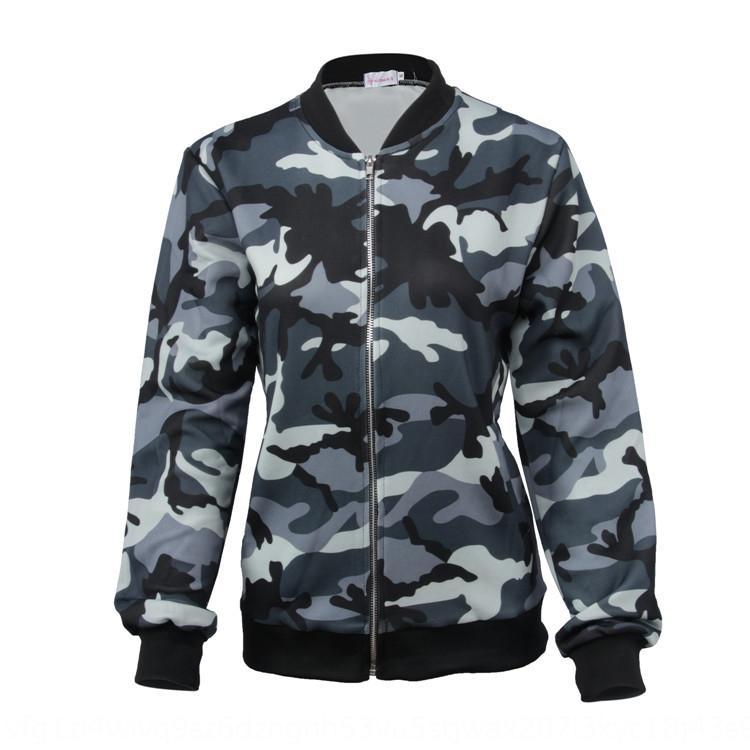 qx7oZ Kadın sonbahar ve kış fermuar kamuflaj Yeni Ceket ceket kadın boyun gevşek uzun yuvarlak ceket üst sleeve
