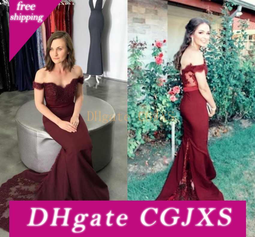 2019 sirena barrido largo vestidos de baile con el cordón Applique del hombro de la criada de la espalda vestidos de noche del partido del honor vestidos atractivos