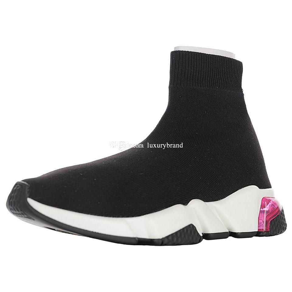 Velocità Knit Mid Scarpe da tennis a uomini di lusso del corridore Rosa Nero formatori Mens Designer Sock Scarpe Boot Womens Socks Stivali sport femminile esecuzione