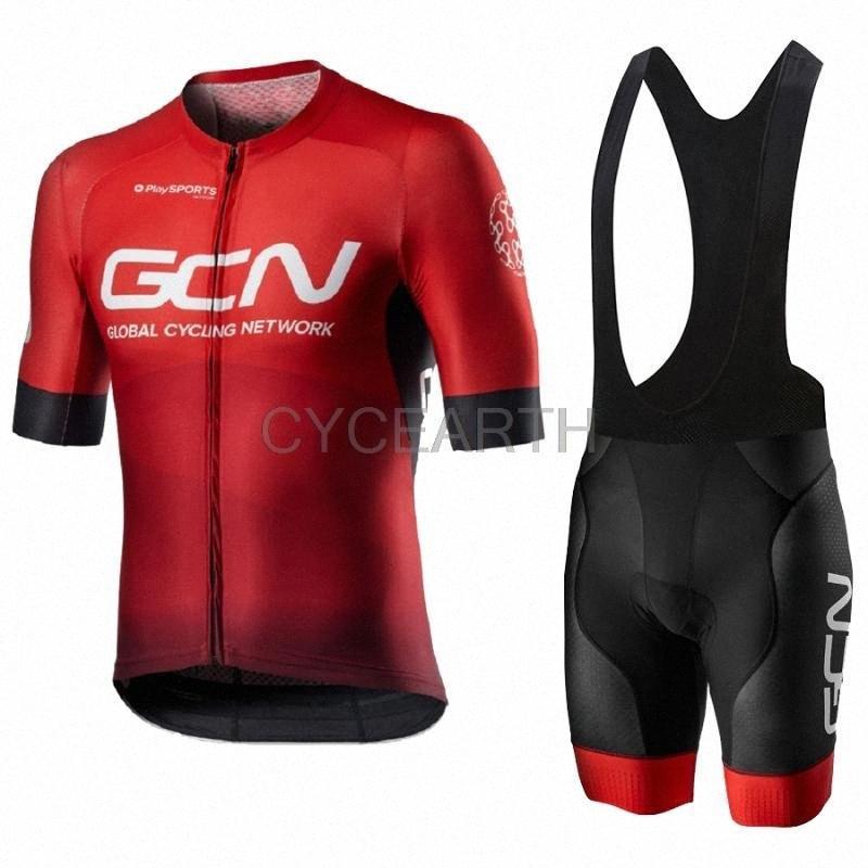 GCN 2020 프로 팀 저지 사이클링 스포츠웨어 셔츠 의류 정장 Maillot Ropa 여름 남성 통기성 패드 세트 짧은 소매 세트 QN4Q #