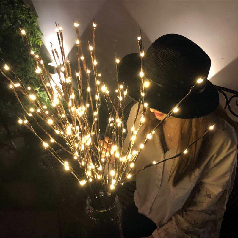 led woolow 지점 램프 20 전구 배터리 전원 라이트 문자열 꽃병 필러 버드 나무 나뭇 가지 빛 지점 홈 파티 크리스마스 장식