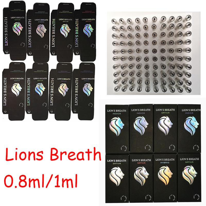 New Lions Breath Carts Vape Cartridges Press On Carts Empty Ceramic Coil Atomizers 0.8ml 1ml 510 Thread Vaporizers Packaging Disposable Pens