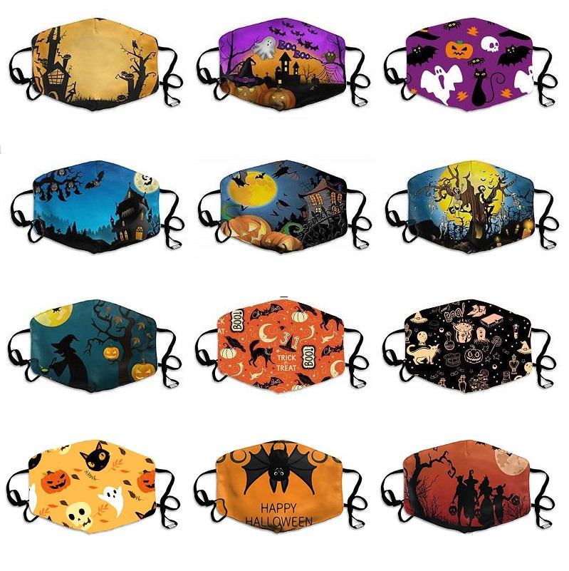 женщины Хэллоуин лицо не маскирует ни одного фильтра не дыхательный клапан моющийся РМ2,5 хлопок лицо маски рот пыле Защитная маска