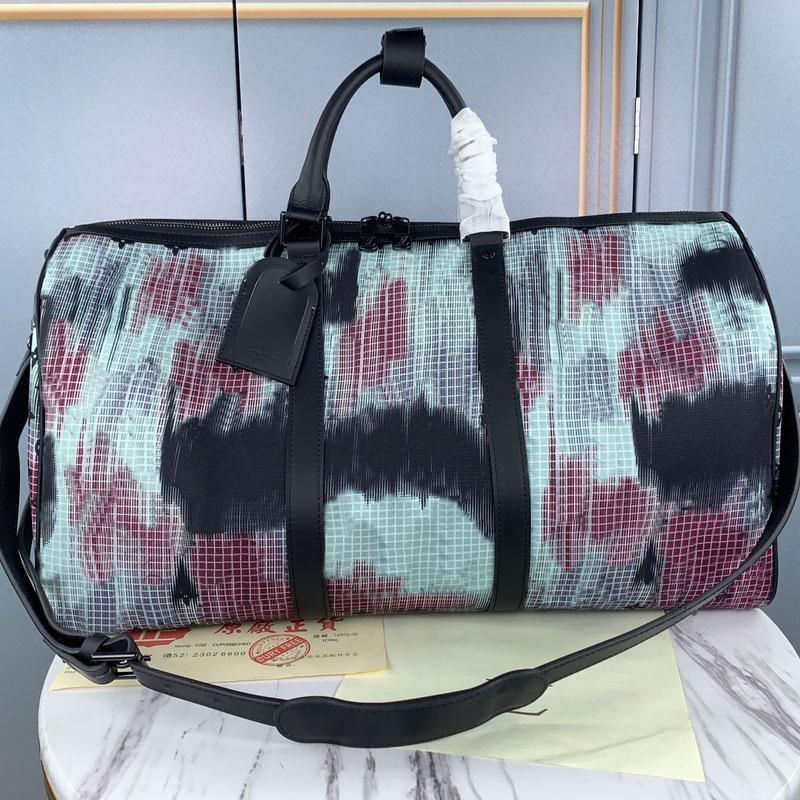 2020 sacs à bagages Haute nouveau sac à main gratuit Sac à main authentique Qualité de la qualité 50cm Expédition Voyage Duffel en cuir fleur UIQNT
