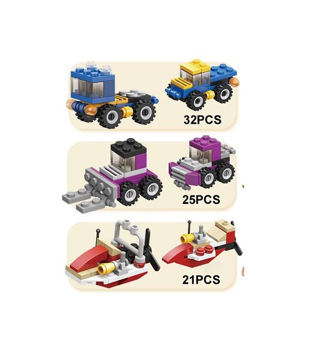 Small particle building blocks car team puzzle assembly toy more style children present building blocks 6 in 1