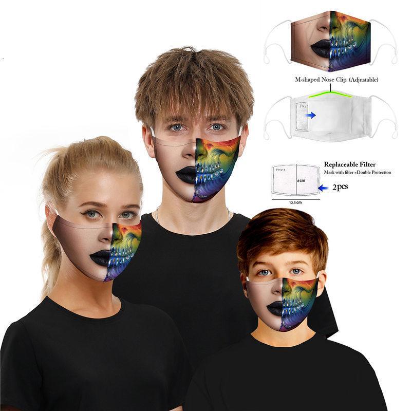 Máscaras Outdoor Cara Sports Mancha boca imprimir poeira de algodão Unisex PM2.5 máscara com filtro removível máscara do partido