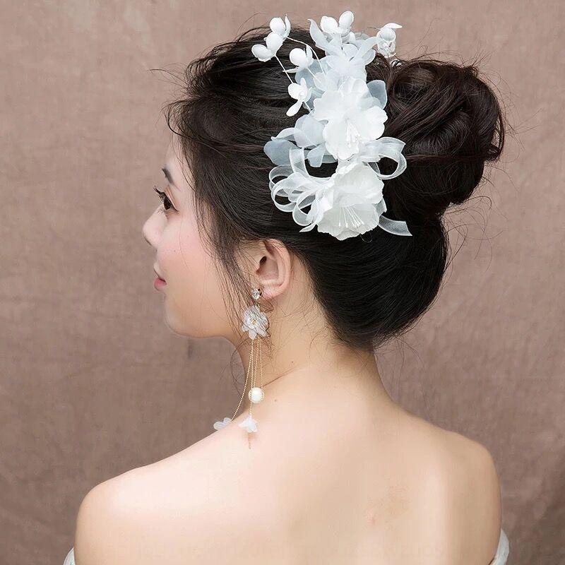 2020 Bride White Gauze Floral Korean Style Short Hair Flower Wedding Head Headdress Pan Hair Accessories Wedding Dress Accessories From Mybossshoes 8 05 Dhgate Com