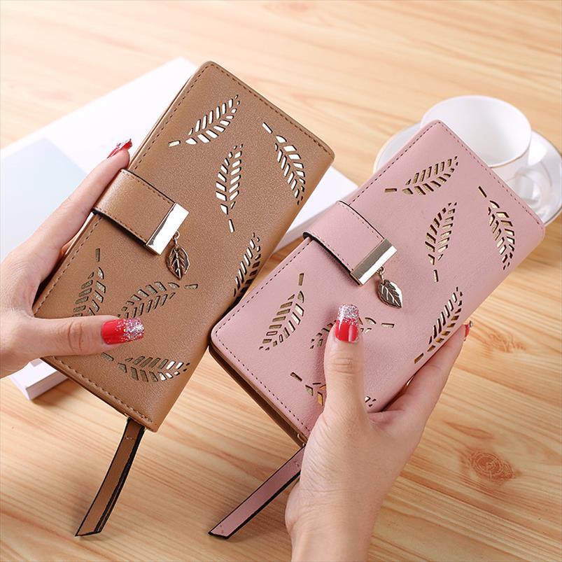 New deixa ocos Mulheres Carteira macia PU Womens Clutch Wallet Feminino Designer Carteiras Coin Purse Cartão