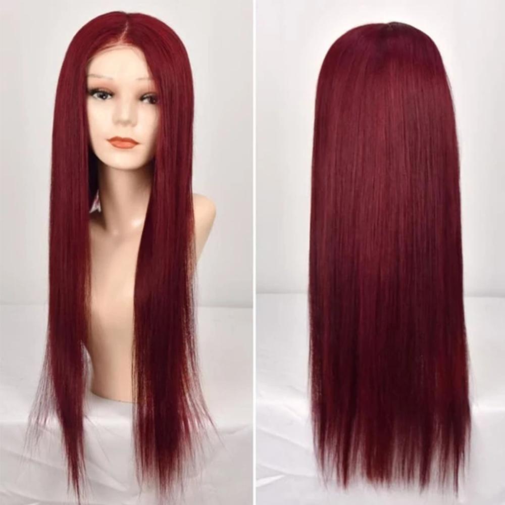 Популярный Стиль 99J 13x4 фронт шнурок прямого парика человеческих волос Парики Pre щипкового Burgundy 13x6 фронт шнурка парики шнурок 370 Фронтальной парики
