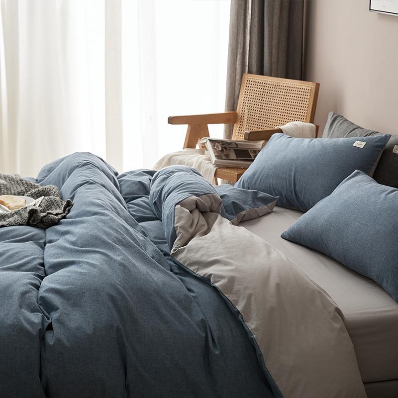Conjuntos de cama Nordic-Style quatro peças de algodão fios tingidos Lavados Cotton folha de cama Quilt cama capa Dormitório três peças equipado B Capa Duvet