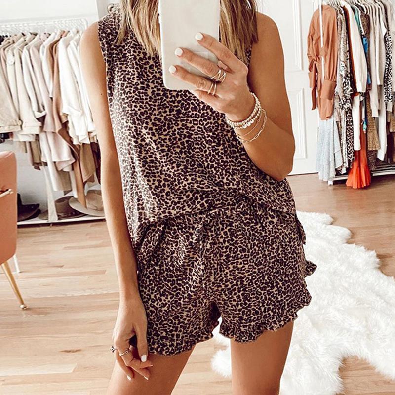 뜨거운 판매 여름 womens 넥타이 염료 인쇄 레오파드 짧은 잠옷 세트 민소매 세트 캐주얼 라운지웨어 나이트웨어 잠옷 여성 의류