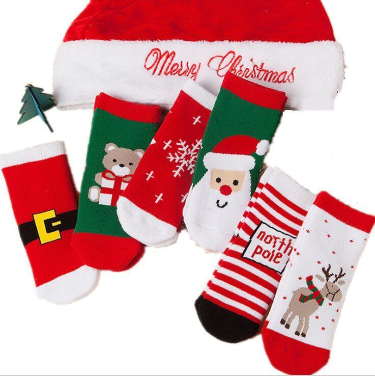 1-3 лет Хлопок Весна Зима Осень Осень Мальчики Мальчики Дети Носки Детские Полосатые Махровые Снежинки Santa Claus Рождество