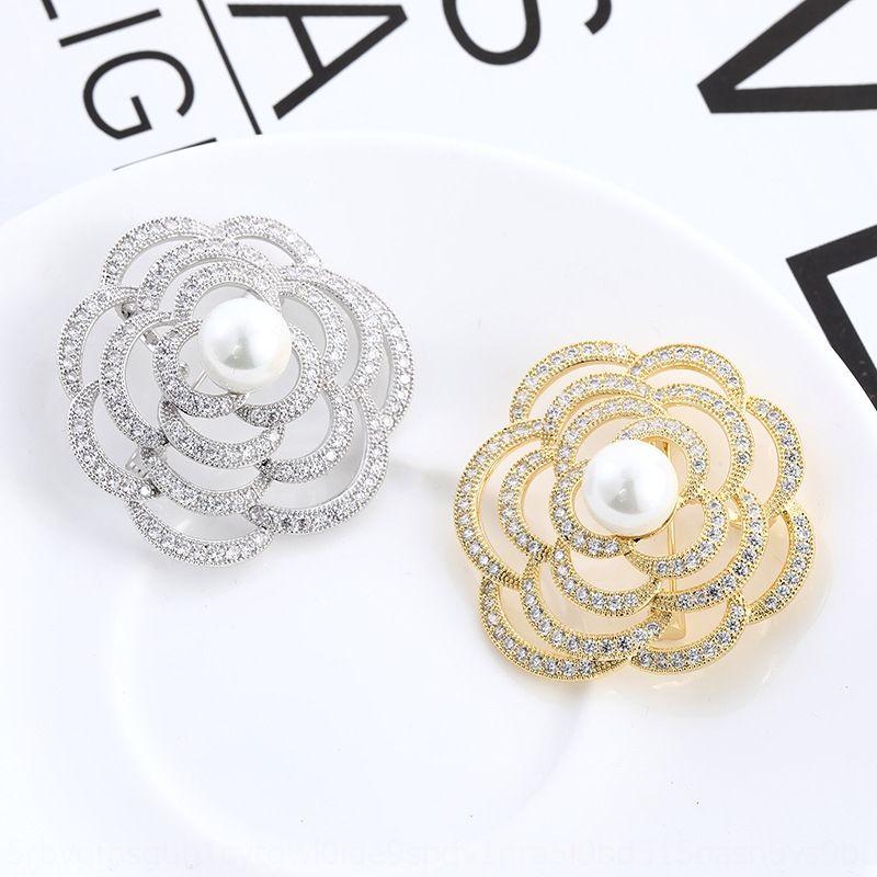 Горячая продажа модной полым из камня Pearl цветок брошь женская элегантный простой инкрустированные яркий камень жемчуг брошь контактный 4sNf7