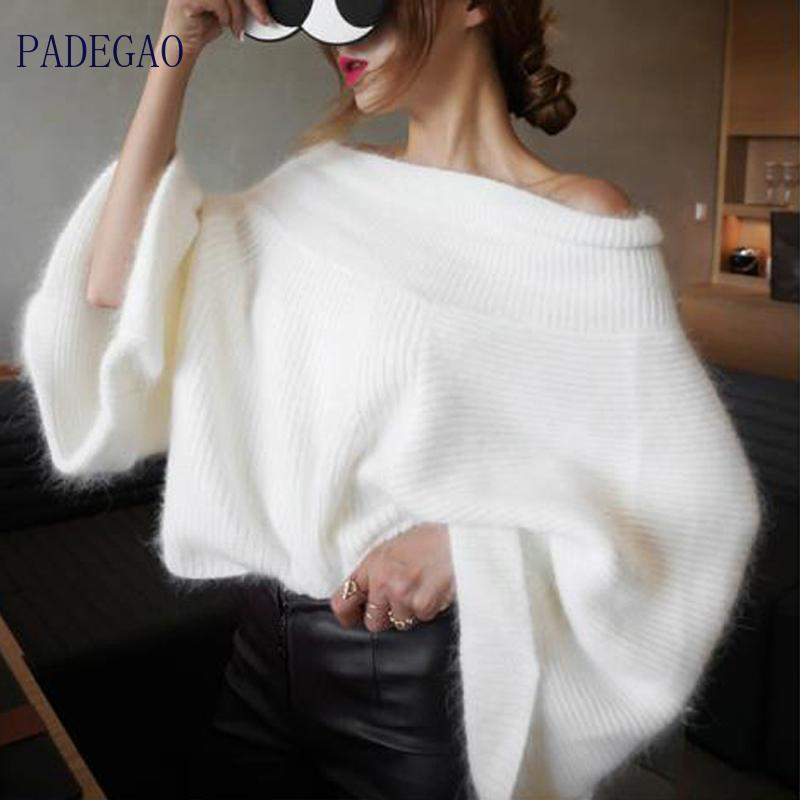 Schulterfrei Pullover Frauen Cashmere Sexy 2020 Winter-Mohair Fest Farbe Damen Horizontal Hals lose Fell Pullover niedlichen Pullover