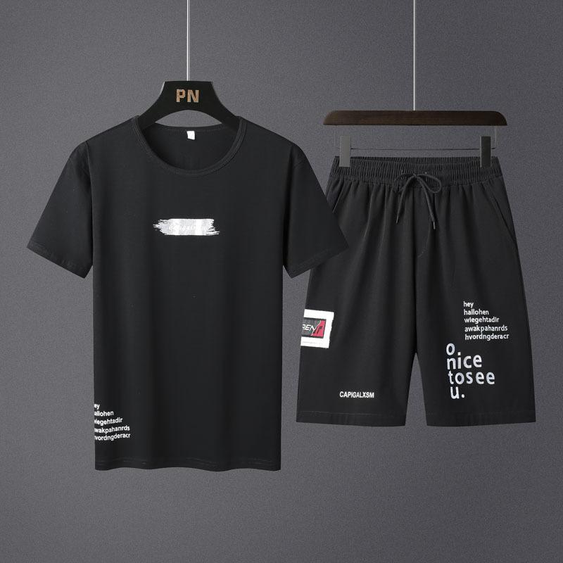 Homens Verão Shorts Set Moda 2020 roupa casual masculino Treino Marca Two Pieces T Shirt Suit Top Sweatpant Track Plus Size 4XL T200821