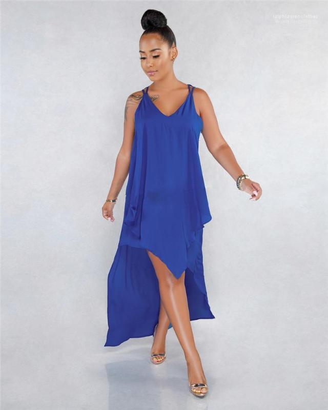 Holidays Fashion Designer Clothing Summer Pure Color Female Dress Women V Neck Sleeveless Dresses Sexy Ladies
