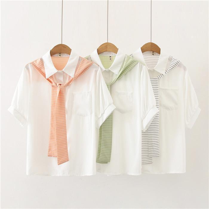 Şal Yaz Gömlek Kadın Sahte İki adet Gevşek Bluz Kadınlar Patchwork Çizgili Moda Casual Gömlek Tasarımcısı Womens