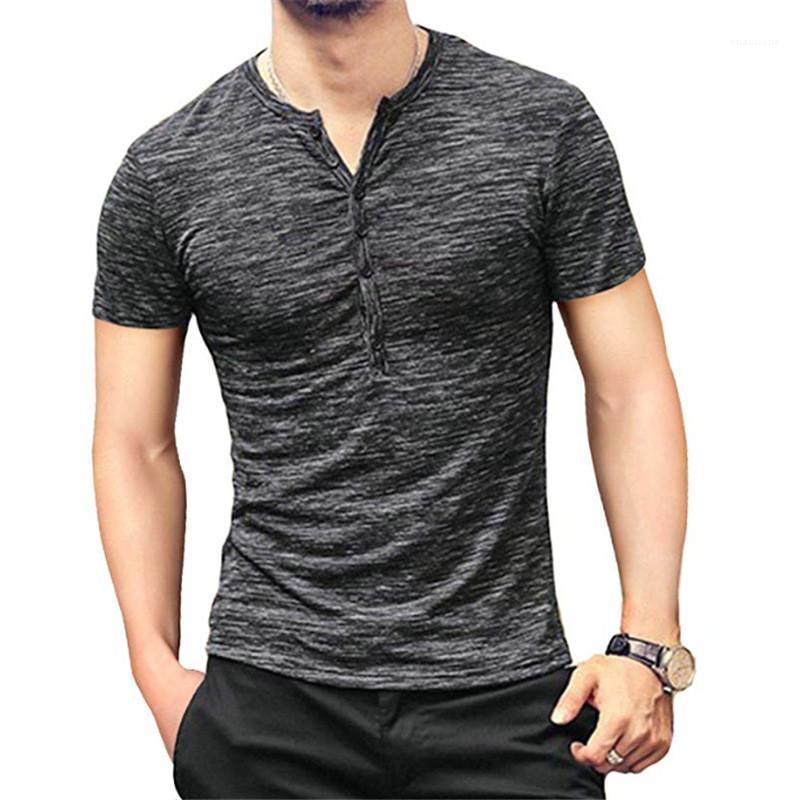 Erkekler Giyim Katı Renk Erkek Tasarımcı tişörtleri Moda İnce Düğmeler panelli Kısa Kollu Erkek Tees Günlük