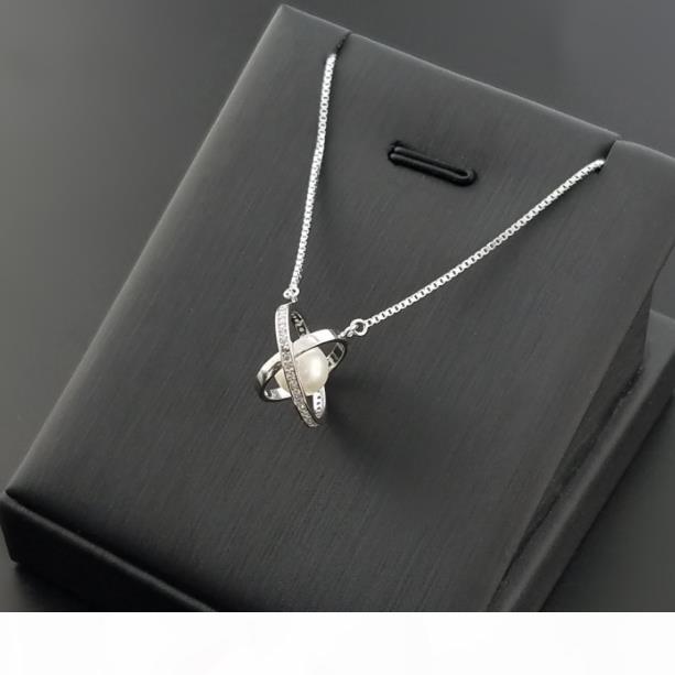 Boutique collier de perles de mode S925 collier dame en argent sterling, collier créatif perle globe S925 argent sterling zircon microinlay