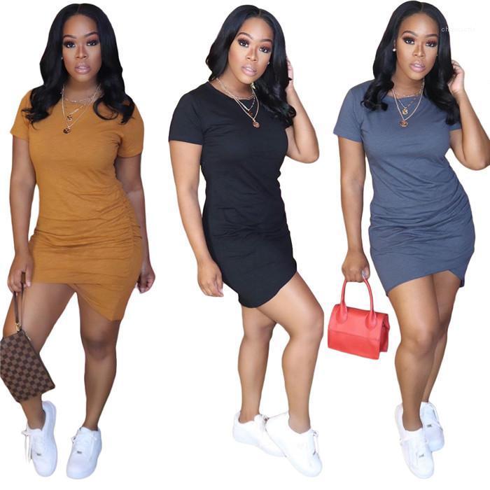 Dantelli Moda Yaz Elbise İçin Kadınlar Kısa SleeveSolid Bayanlar Tee Elbise Kadın Tasarımcı tişörtleri Elbiseler Kayma