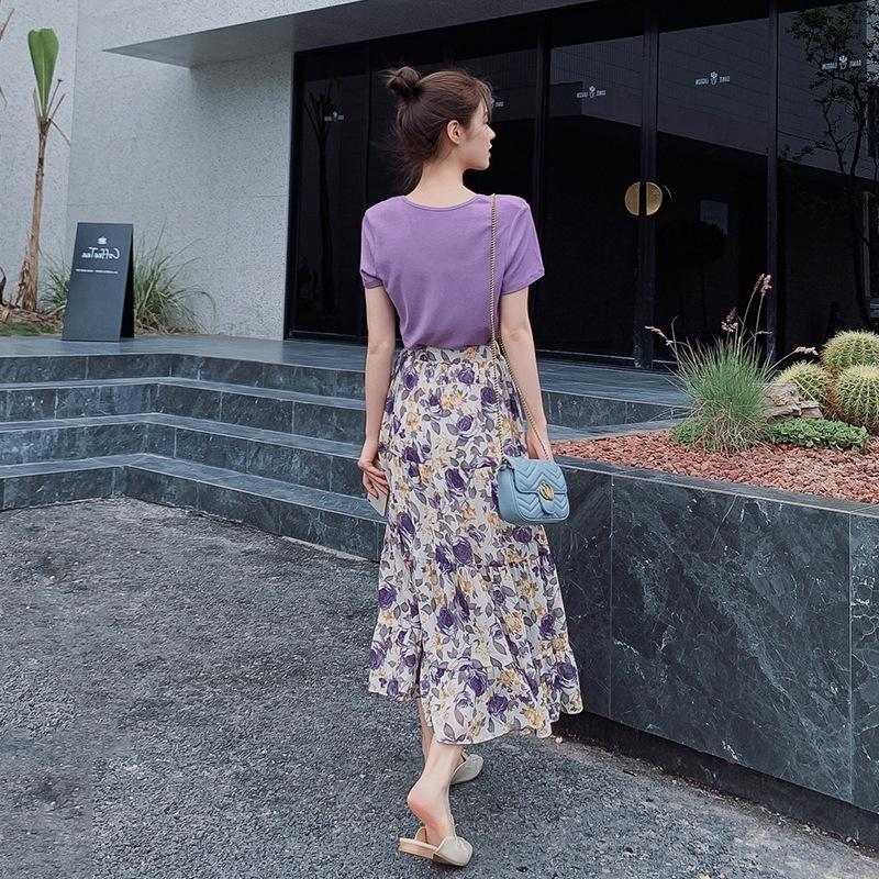 Roxo longo saia longa saia de verão 2020 Jyj9J vestido floral das mulheres vestido de cintura de emagrecimento temperamento chiffon de Nova verão mulheres