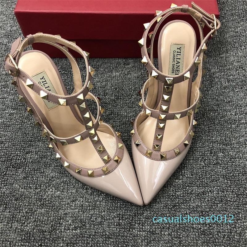 Gerçek fotoğraf Moda Kadınlar seksi bayan Kırmızı Çıplak patenti Noktası ayak çivili çiviler strappy ayakkabı Stiletto topuk parti C12 pompalar slingback pompaları