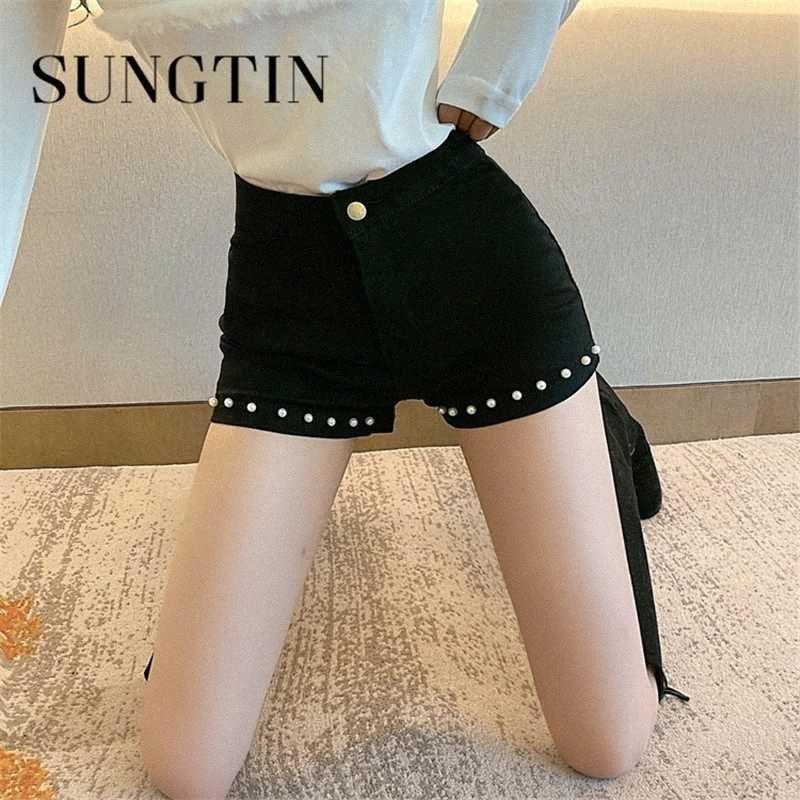 Sungtin Черных шорт женщин весна лето Тощий шорты Denim с Pearl Повседневного Lady All Match Black 2020 Классических корейских модами vgxm #