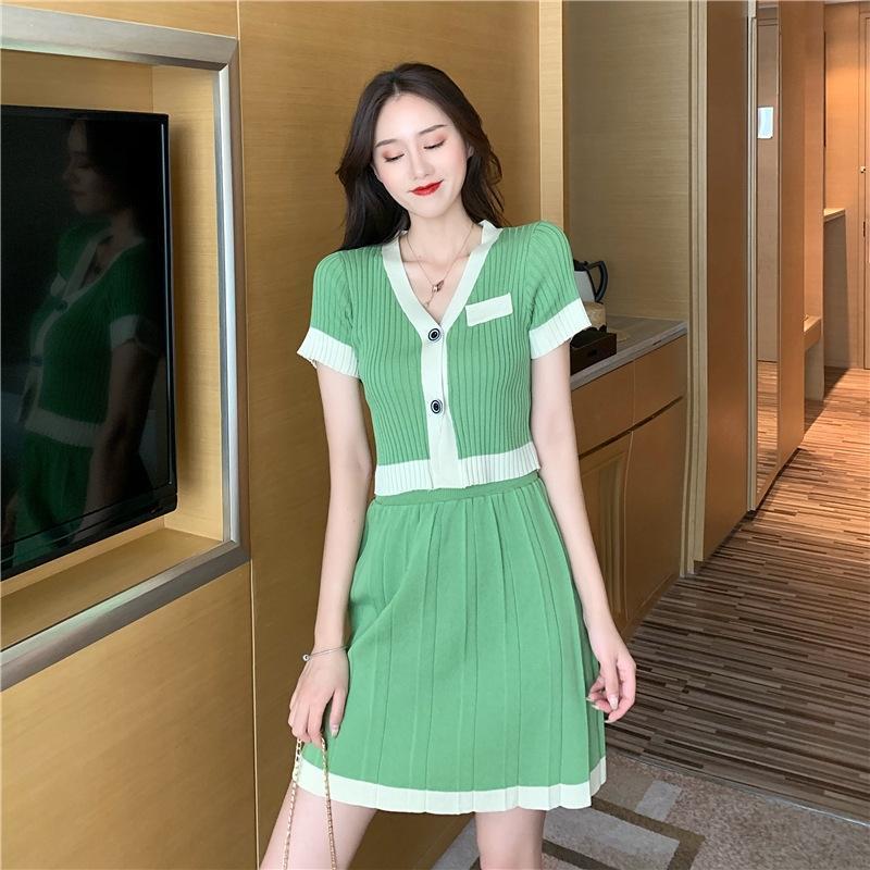 q6S9t цвет Корейский стиль V-образным вырезом контраст CoJLi талии тонкий верхний T-рубашка женская короткий рукав свитер + короткий двухсекционный костюм куртка юбка T-Шир