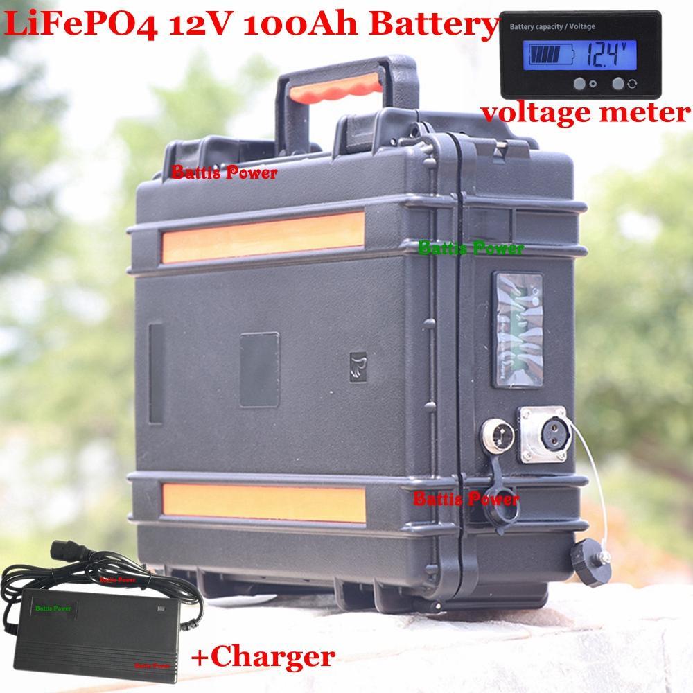 étanche batterie 12V 100AH Lifepo4 BMS 100A pour la machine 1000W onduleur navire alimentation électrique d'urgence Tricycle + 10A Chargeur