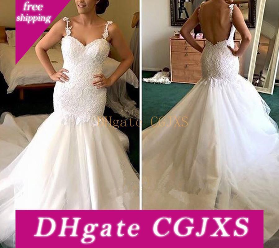 Nouvelle arrivée de sirène robes de mariée Applique dentelle bretelles spaghetti manches Cour dos nu train Robes de mariée robe