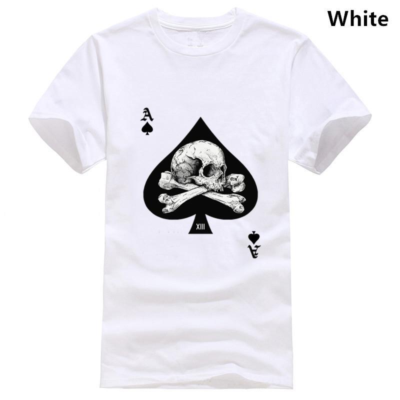Personalizado Ace of Spades T Shirt 2018 Camiseta Homens do crânio camiseta O cartão do póquer Roupa Hip Hop Tops T retros do Algodão Branco Vintage