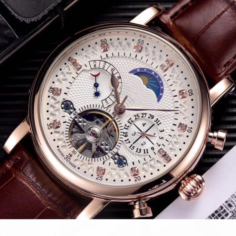 Fashion Schweizer-Uhr-Leder Tourbillon-Uhr Automatik-Mann-Armbanduhr Mann-mechanische Steel Uhren Relogio Masculino Uhr