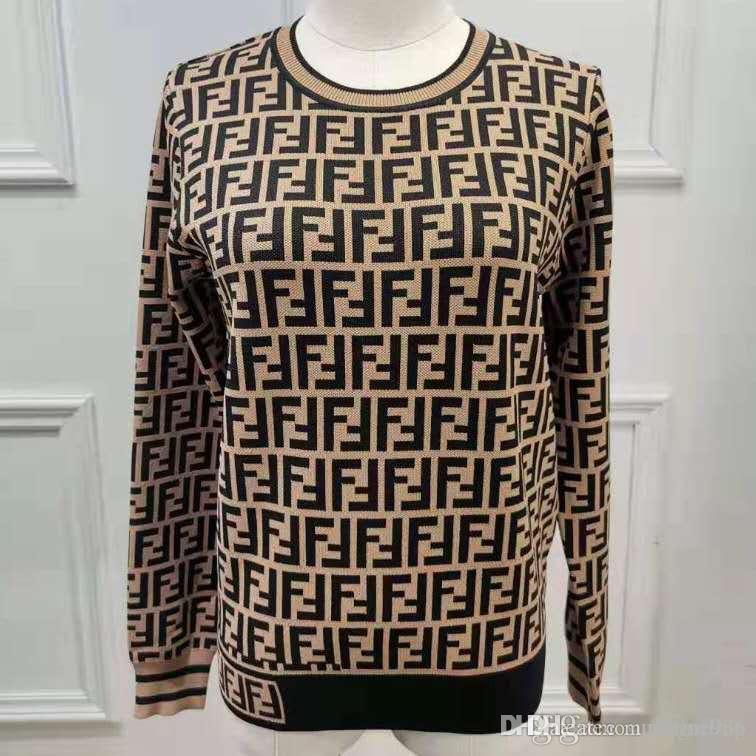 2019 donne maglioni nuovi pullover F Lettera Autunno Inverno qualità di lavoro a maglia camicette femminile maglione in fabbrica