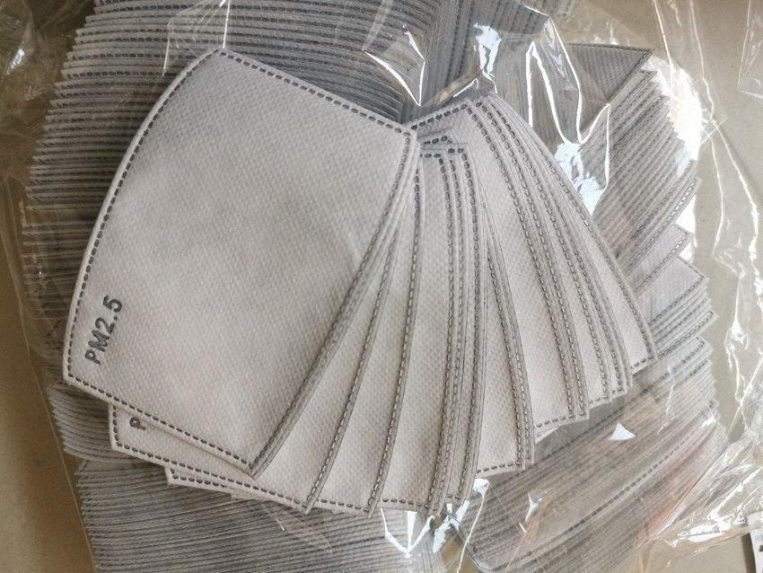 Camadas PM2.5 Filtro de carbono ativado 5 Filtro inserção de protecção de mídia Inserir Mat para a boca máscara anti máscara de pó LJJA3875 46QB #