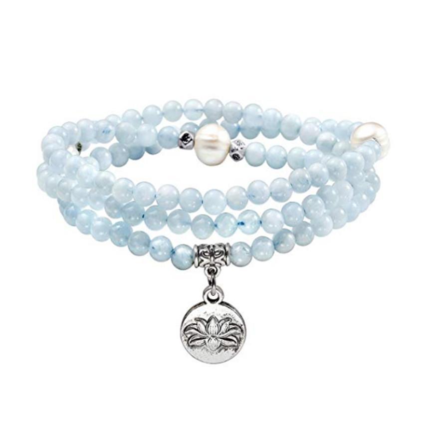 5 PC Beliebte Silber plattiert Lotus Flower Connect Blau Aquamarin Kristall Stretchy Armband Rose Quartz Jewelr