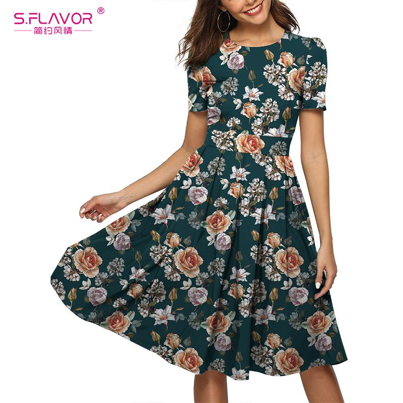 S.FLAVOR Summer Dress Women Casual Floral Print Knee Length Sundresses Ladies Fitted Clothes 2020 Elegant Dresses For Women