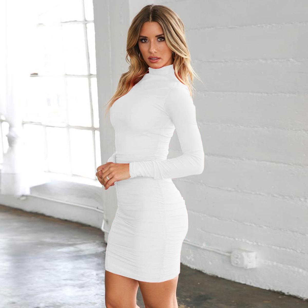 oYllL 8126 сексуальный высокий воротник длинный рукав плотно плиссированной платье платье осенью и зимой XL