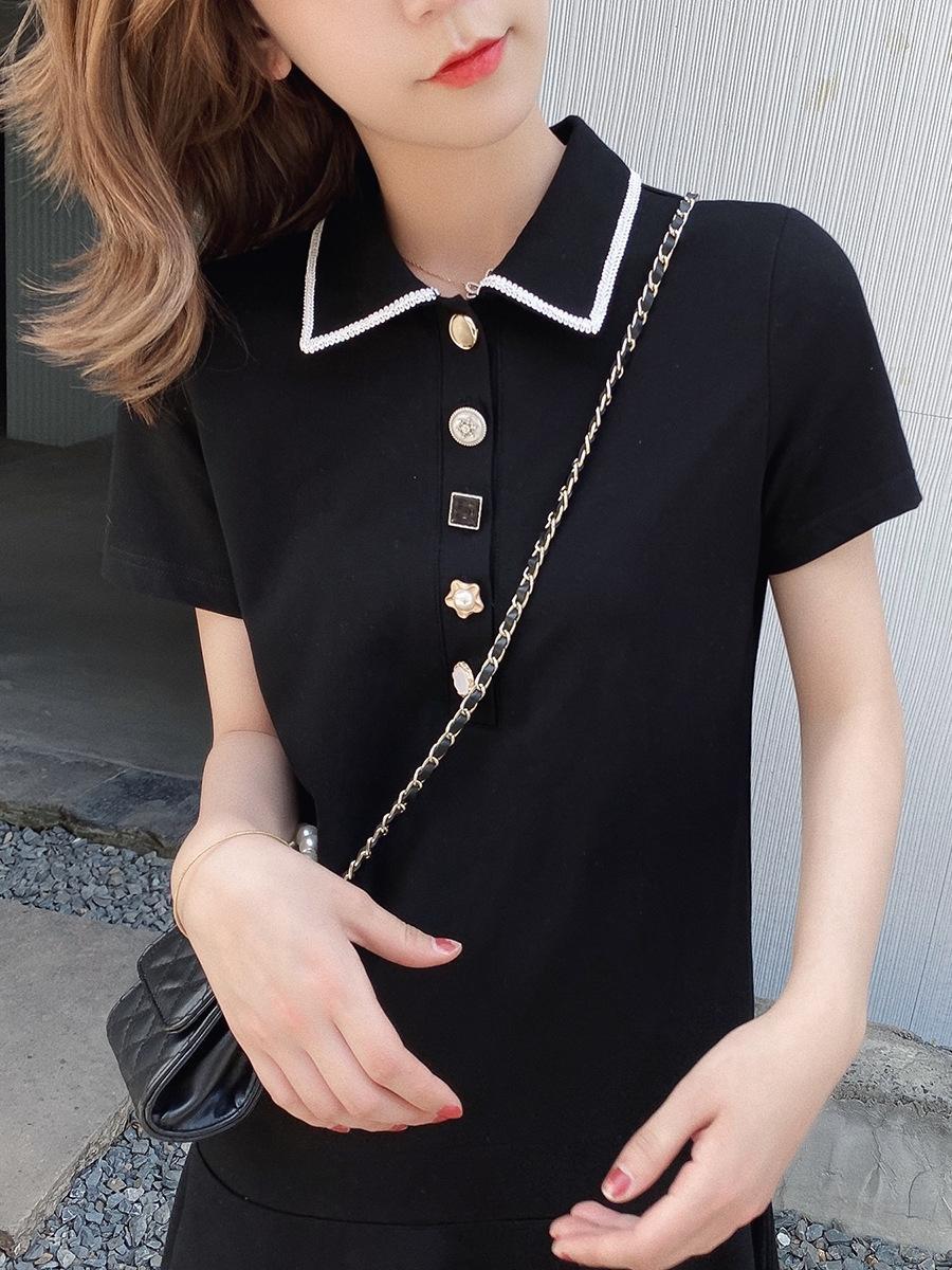 tXJY4 a maniche corte Estate 2020 in stile coreano pendolari signora Slim-fit breve abbigliamento femminile vestito nuovo vestito dal risvolto delle donne coreane estate per wo