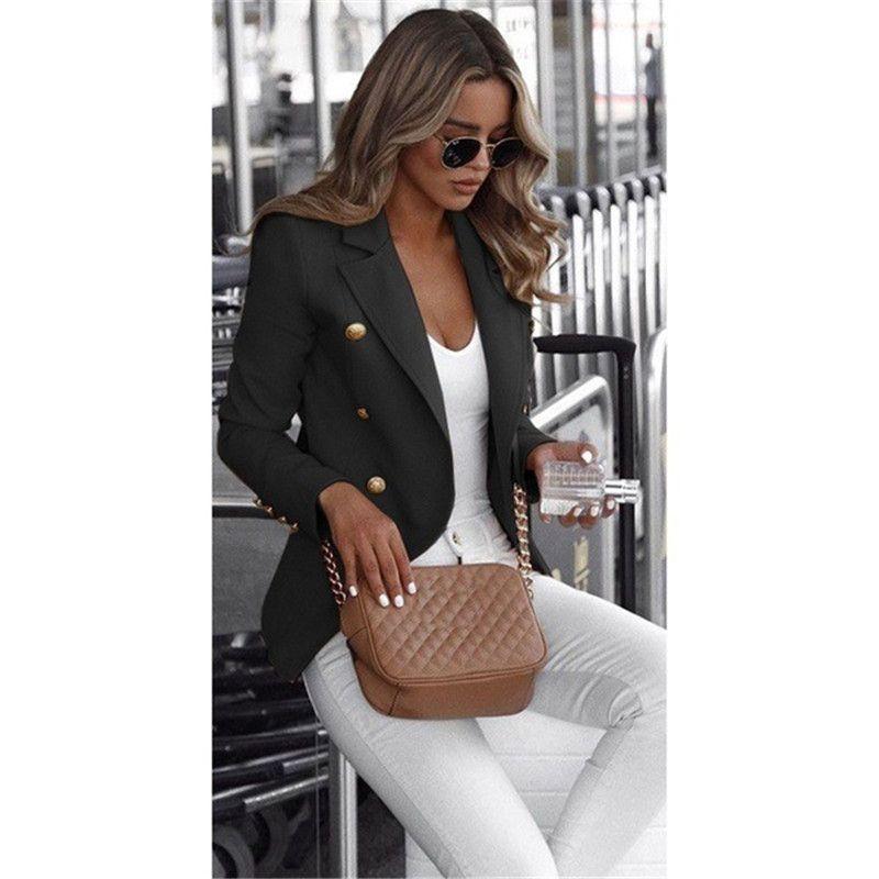 تصميم تصميم بلون بلون بلون طويل الأكمام جيب التلبيب الرقبة بدلة بدلة معطف صغير للنساء مع أزرار