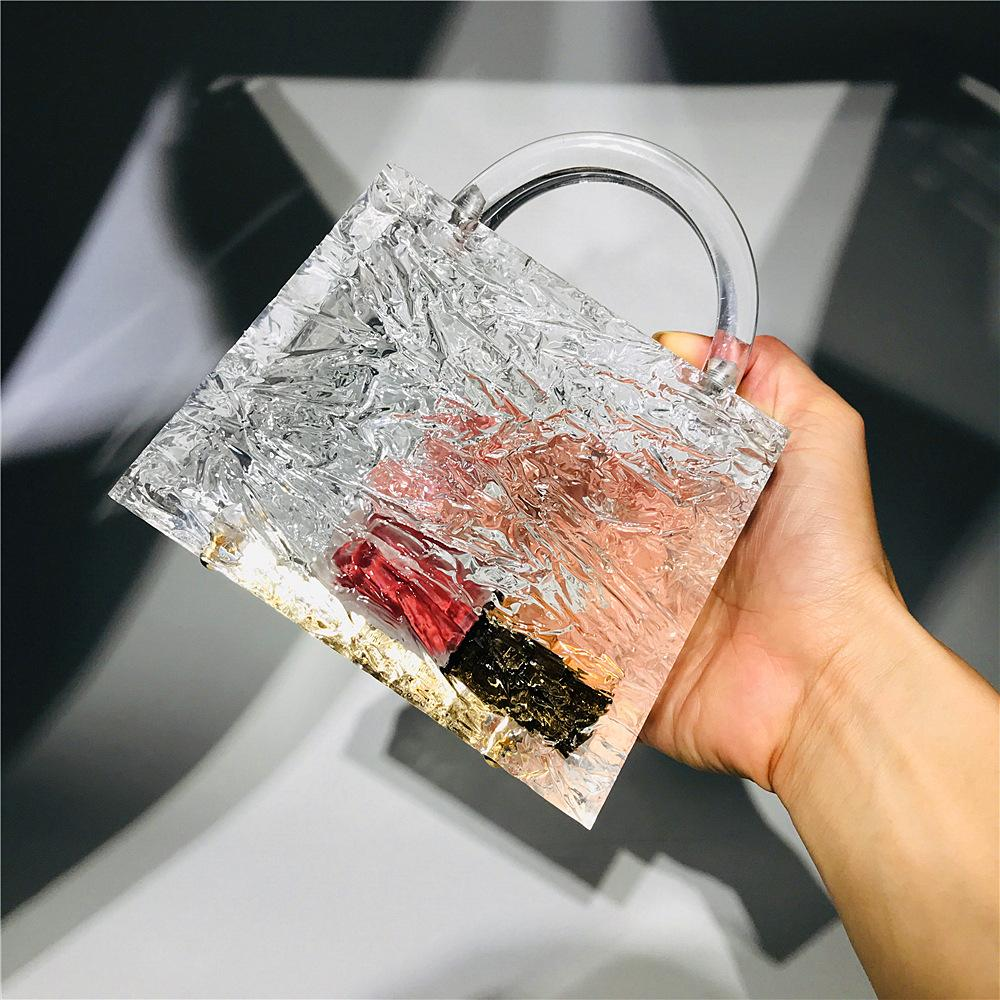 borsa del partito crepa borsa a tracolla borsa da sera di cristallo di lusso trasparente di ghiaccio acrilico Bling bag Top donne matrimonio Giorno della frizione rosa Sugao