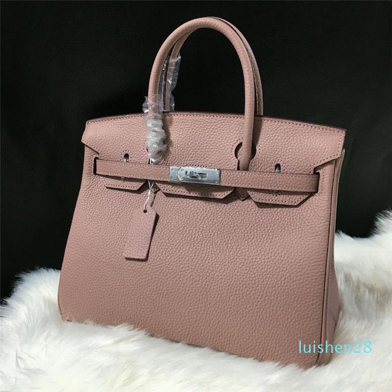 Designer 2020 elegante bolsa de couro genuíno Camada mulher bolsa Kelly Bag Litchi Grain Cabeça Ombro couro prata fivela único Span Handbag L28