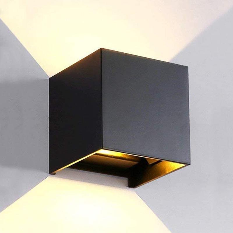 Lampada da parete impermeabile in alluminio a LED 6W luce calda su e giù colore nero coperta per soggiorno camera da letto corridoio