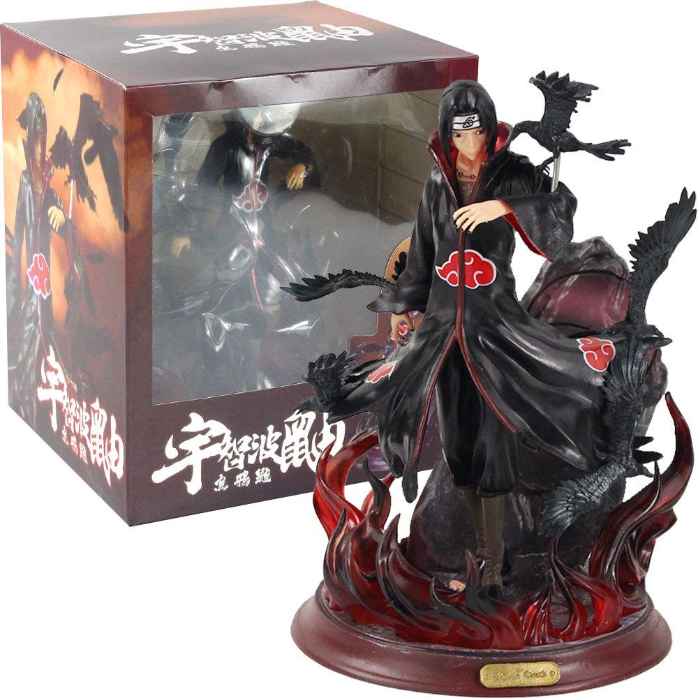 Cartoon Anime Naruto Shippuden Figure Itachi Uchiha con corvi Akatsuki Suita anime modello da collezione modello regalo giocattolo