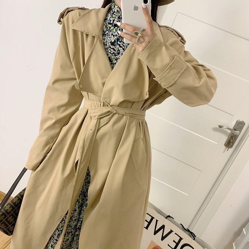 FUxbN 2020 nouveau tout match à mi-longueur privée tempérament coupe-vent femmes style manteau coréen coupe-vent manteau minceur mince revers fashionab