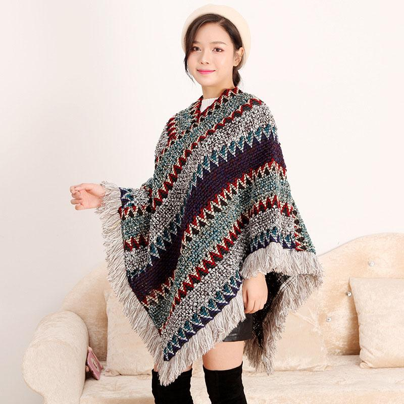 4 Colors Winter Cloak Women Soft Knitted Tassel Cardigan Capes Shawl Coat Elegantes Cape Poncho Women