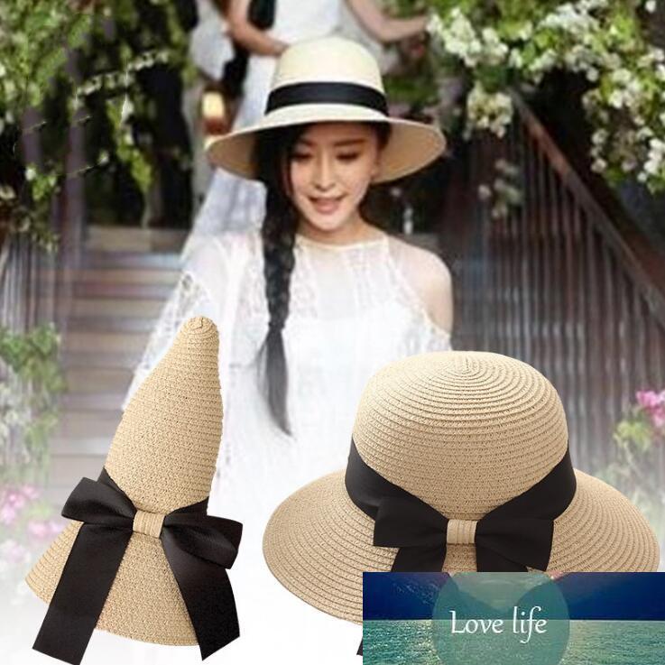 Korean Women Bucket Hat Wide Brim Foldable Straw Lady Beach Hats Sunhat For Summer Topee Sun Cap Free Ship Factory price expert design Quality Latest Style Original