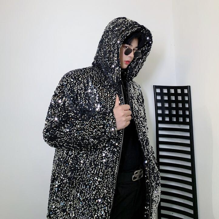 Payetler ceket erkek giyim erkek ceket ve mont jaqueta şarkıcı sahne Kalın kapüşonlu kadife yastıklı ceket kişilik moda